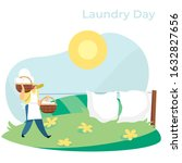woman carrying baskets with... | Shutterstock .eps vector #1632827656