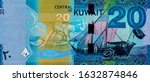 Kuwaiti pearl diver, the earliest professions that enabled Kuwaitis to earn a living before the discovery of oil. Al-Boom traditional Kuwaiti Dhow ship. Portrait from Kuwait 20 Dinar 2014 Banknotes.