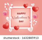 valentines day vector hearts...   Shutterstock .eps vector #1632885913