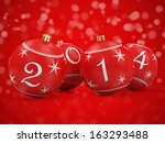 Red Christmas Balls 2014 on beautiful red background - stock photo