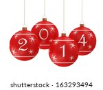 Red Christmas Balls 2014 hanging on golden ribbon isolated on white background - stock photo