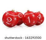 Red Christmas Balls 2014 isolated on white background - stock photo