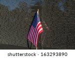 Flag at base of Vietnam Veterans Memorial