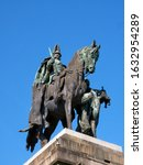 Small photo of KOBLENZ, GERMANY - 7/6/2019: Equestrian bronze statue of Kaiser Wilhelm I in full Prussian uniform