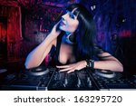 beautiful sexual dj girl... | Shutterstock . vector #163295720