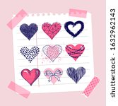 template card with hearts.... | Shutterstock .eps vector #1632962143