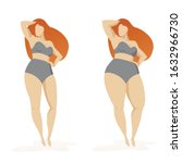 two women thick and thin women...   Shutterstock .eps vector #1632966730