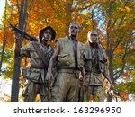 Three Soldiers Vietnam Memorial in the Fall