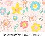 seamless pattern of  flowers... | Shutterstock .eps vector #1633044796