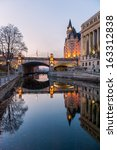 Small photo of The rideau canal in Ottawa at sunset