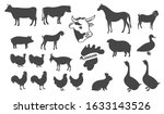 Set Of Silhouette Farm Animals...