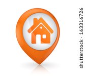 gps icon with symbol of house...