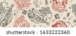 mexico. seamless pattern.... | Shutterstock .eps vector #1633222360