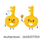 Cute Happy Gold Key With...