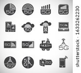 5g related icons set on...