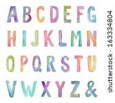 colorful watercolor alphabet   Shutterstock . vector #163334804
