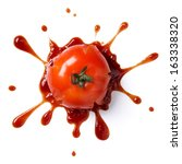 splattered tomato with ketchup... | Shutterstock . vector #163338320