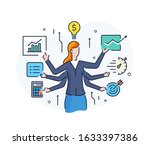 business woman with a light... | Shutterstock .eps vector #1633397386