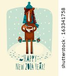 new year card with horse | Shutterstock .eps vector #163341758