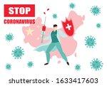 stop coronavirus 2019 ncov in... | Shutterstock .eps vector #1633417603