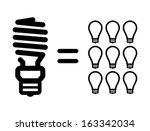 Energy saving lamps vs incandescent light bulbs - stock vector