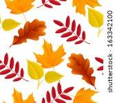 seamless autumn oak  maple  ash ... | Shutterstock .eps vector #163342100