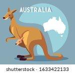 kangaroo with map of australia... | Shutterstock .eps vector #1633422133