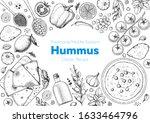 hummus cooking and ingredients... | Shutterstock .eps vector #1633464796