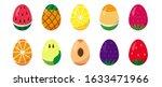set of easter eggs painted like ... | Shutterstock .eps vector #1633471966