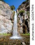 """waterfall """"kegety""""  tien shan...   Shutterstock . vector #163347494"""
