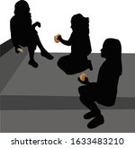 girls sitting at stairs  eating ... | Shutterstock .eps vector #1633483210