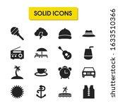 seasonal icons set with surfer  ...