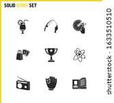hobby icons set with shopping ...