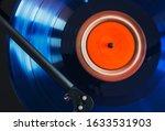 Close Up Of Blue Vinyl Record...