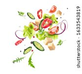 a splash of fresh vegetable... | Shutterstock .eps vector #1633543819