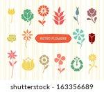 set of vectorized flowers   Shutterstock .eps vector #163356689