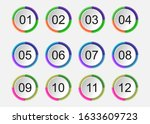 circle 3d icon set with number...