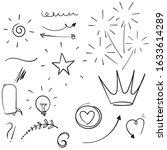 set of doodle elements. arrow ... | Shutterstock .eps vector #1633614289