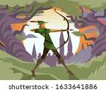 robin hood ranger archer aiming  | Shutterstock .eps vector #1633641886