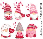 a vector set of cute gnome... | Shutterstock .eps vector #1633671250
