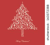 christmas money tree on red | Shutterstock .eps vector #163372388