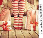 Sexy Woman Legs. Christmas...