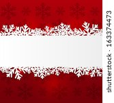paper snowflake border on red | Shutterstock .eps vector #163374473