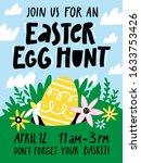 easter egg hunt invitation or... | Shutterstock .eps vector #1633753426