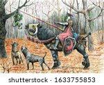 Fantasy Rider With Dogs And A...