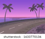 Street Road Sunset Graphic Palm ...