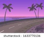 Street Road Sunset Graphic Palm ...