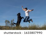 labrador dog with middle aged...   Shutterstock . vector #1633807990