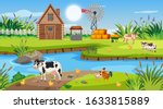 Scene With Wooden Cottage In...