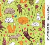 cute animals green seamless... | Shutterstock .eps vector #163383524